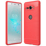 Flexi Carbon Fibre Shockproof Case for Sony Xperia XZ2 Compact - Red